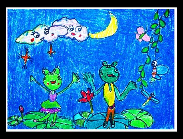 池塘青蛙儿童画,色彩渐变儿童画,池塘荷花青蛙儿童画